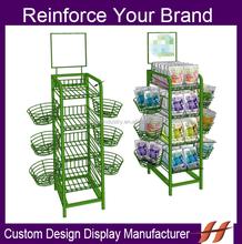 Custom Supermarket Free Standing Metal Wire Basket Display Rack/ Iron Wire Big Promotion 4 Tier Display Stand