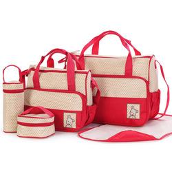 Trendy Multifunctional Big Volume Light Diaper Bag for Mummy Polka Dot Diaper Bag 5 pieces suit