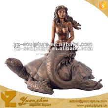 Mermaid sitting on tortoise bronze water fountain GBFN-G020S