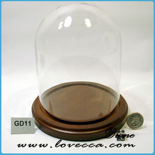 Decorative Clear Glass Cloche dome, glass dome cover with wooden base