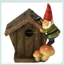 Craft polystone house with gnome decoration garden birdhouse