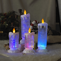 Christmas Decorative Color Changing Flameless Yellow Flame Candle Light,Phosphor Powder Coated Glitter Swirling LED Candle Light