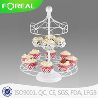 two tiers 12pcs cups metal wedding cake stand