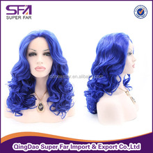 cheap synthetic blue curly afro wigs for black women