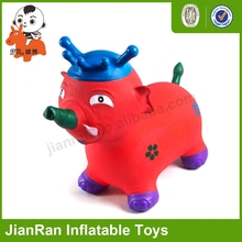 PVC inflatable animals for kids, Jumping elephant with crown, bouncy toys animal