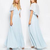Oem service custom design plain pattern 100% polyester women flutter sleeve petite dress