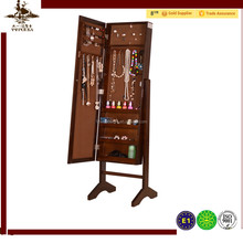 Antique wooden mirrored jewelry cabinet of living room furniture from chinese