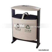 Painted stainless iron rubbish bin for park, outdoor recycling waste bin