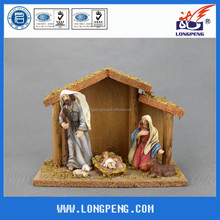 Antique Catholic Holy Family Nativity Scene Figurines,Polyresin Christmas Nativity with Wooden House