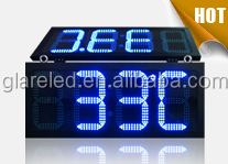 outdoor waterproof high bright 12 inch led clock time and temperature display