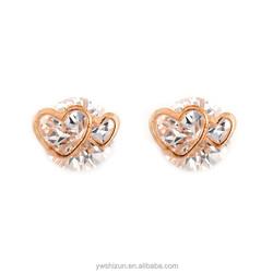 Alibaba Jewellery Elegant Rose Gold CZ Stud Earings Double Heart earring gold jewellery