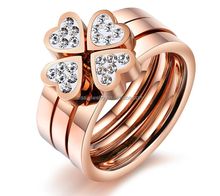 Fashion Jewelry Chiness 3 in 1 Four Leaf Clover Stainless Steel Puzzle Ring