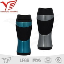 Newly design 18/8 stainless steel car travel mug with handle, screw lid travel mug