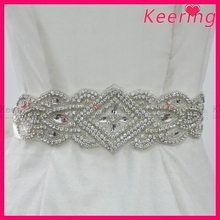 Fashion wholesale waistband belts beaded silver bride rhinestone belt for wedding dress garment accessories