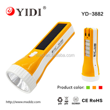 Africa Popular Solar Powered Plastic 12SMD Rechargeable LED Emergency Torch Flashlight with Battery