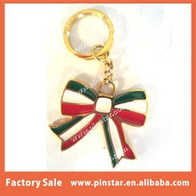 Cheap Price Gold Tone Soft Enamel Custom Bow Shaped Keyring with High Quality