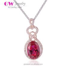 Arabic Unique Necklace Red Heart Polished Stone Pendant