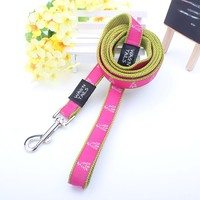 high tensity customed printed logo nylon dog leash wholesale