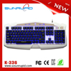 Waterproof USB LED gaming keyboard with 3 colors backlight