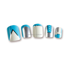 New arrical top selling decorated false nails, metallic artificial nail tips for nail arts design