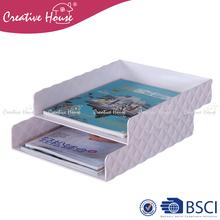 Fashionable sundries stocked PS/ ABS plastic diamond design office magazine holder file folder desk organizer document tray
