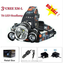 3T6 Headlamp 5000 Lumens 3 x Cr ee XM-L T6 Head Lamp High Power LED Headlamp Head Torch Lamp Flashlight Head +charger+Batteies