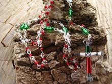2015 Newest Crystal Beads Catholic Rosary With Wapped Horseshoe Nails Cross