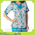 diseños enfermera uniformes de moda para médico del hospital de flores impreso