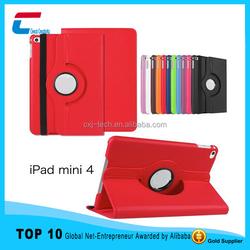 New ! ! ! 360 rotation leather case for ipad mini 4 ,for ipad mini 4 leather case with custom logo