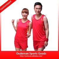2015 Cheap wholesale running t shirt new design running wear set dry fit athletics uniform set