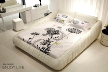 2015 bedroom king size white leather bed P618