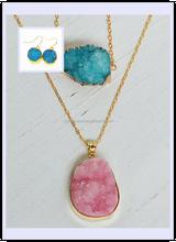 Fashion natural quartz geode gold plated druzy connectors