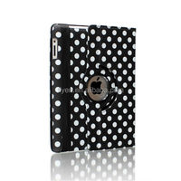 New Cute 360 Rotating Case Cover Swivel Stand Polka Dot Design for iPad air