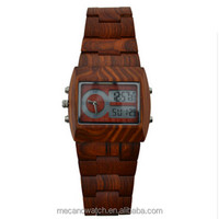 2014 Top Luxury Gift Men Wood Watch Quartz Analog Digital Double Movement LED Men Wood Watch Square