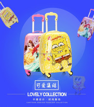 2015 fashion lovely cartoon ABS+PC kids school bags with wheels for girls or boys