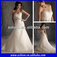 WE-1813 Strapless ruched fitted bodice a line skirt china custom made wedding dress evening in garden