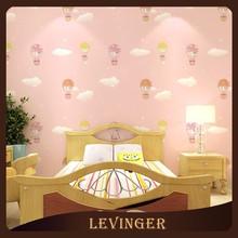 Levinger Textile Pink fire Balloon Shaped Waterproof Wallpaper for Children Bedroom