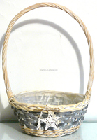 2015 hot sale willow basket ,wicker basket with handle and plastic lining home decoration,flower basket
