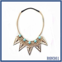 hand made vintage gold necklaces nigeria turquoise stone beads basketball punk spike necklaces for men