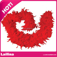 Red Turkey Feather Boa /Feather Turkey Flat Chandelle Boa /Turkey Boa for Chandelle Decoration