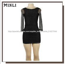 2015 manga de malla negro al por mayor de vestido