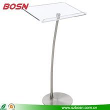 Acrylic Podium for Floor with Clear Surface, Chrome Steel Pole & Base
