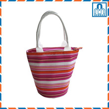 Colorful Striped Top Opened Canvas Cross Body Bag Tote