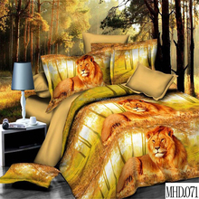 Reactive animal printed lion king bedding set king size 100% polyester bed sheets cheap 3d bedding set
