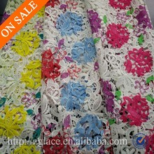 multicolor flower chemical lace for dresses / polyester embroidery african cord lace