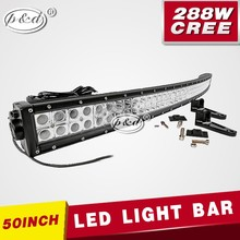 HOT!!! 0ffroad 4x4 led light bar curved 19200lm ip67 50 inch 288w