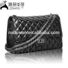 Acolchado italiana bolso de cuero de patente negro del hombro de la taleguilla taleguilla del monedero del bolso