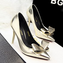 SAA4436 Fancy stiletto heel pumps stylish pointed toe ladies korean high heel shoes with bowknot