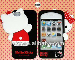 Premium On Sale Super Cute Cartoon Silicone 3d hello kitty Case/cover/protector for iPhone 4 4S Fits All Models of Iphone 4 & 4s