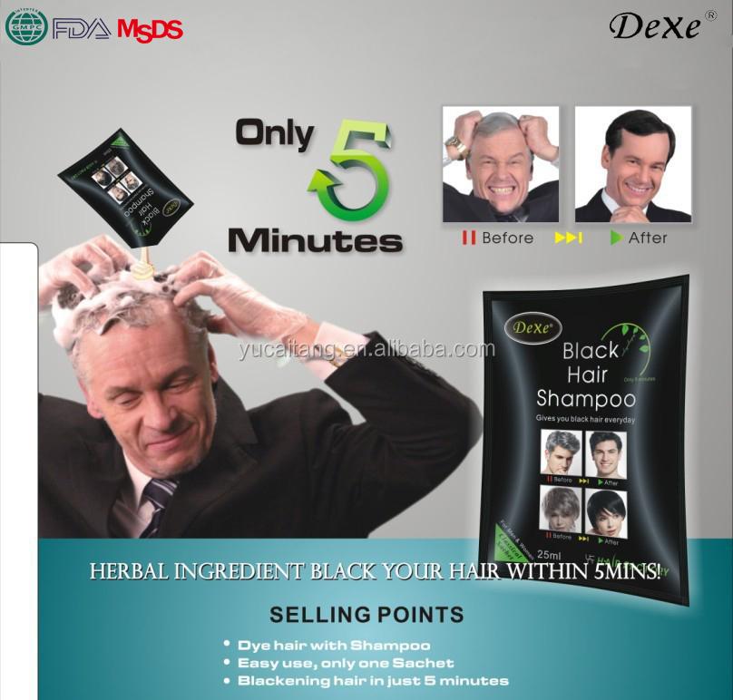 Natural Herbal Formula Dexe Black Hair Dye Shampoo Cover Grey Hair